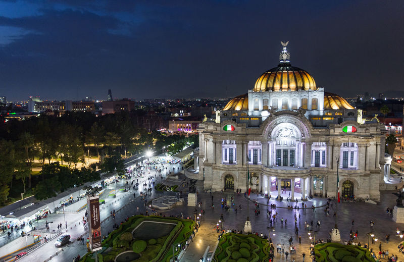 Beautiful Tourist Attraction  Architecture Awesome Building Building Exterior Built Structure City City Life Cityscape Design Dome Downtown District High Angle View Illuminated Nature Night No People Palacio De Bellas Artes  Park Place Of Worship Sky Splendid Travel Travel Destinations