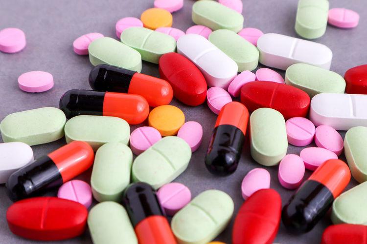 multi colored medicines on table