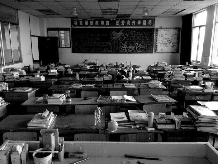 My Student Life School China Highschool Grade 3 Classroom Nobody Blackandwhite