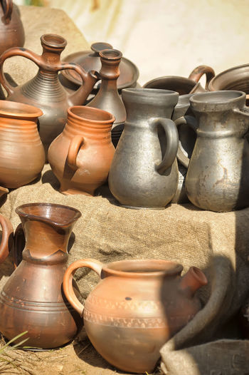 Potteries for sale in market stall