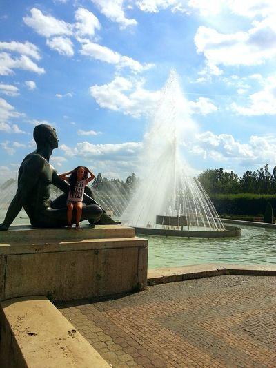Kid Water Spraying Outdoors Sky Childhood Children Photography Girl Statue Fountain EyeEmNewHere Hair Curly Cute Trip Debrecen