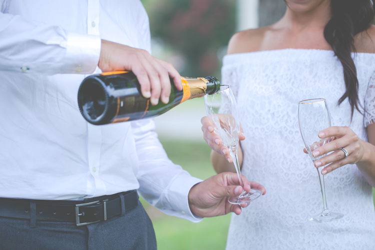 Champagne Flutes Wedding Bride And Groom Champage Elopement Life Events Marriage  Toasted Bread Two Glasses Two People