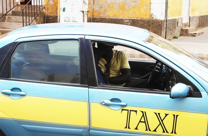 Blue And Yellow Capo Verde Car Child Day Espargos Outdoors Sal Island Summer 2015 Taxi Transportation Woman