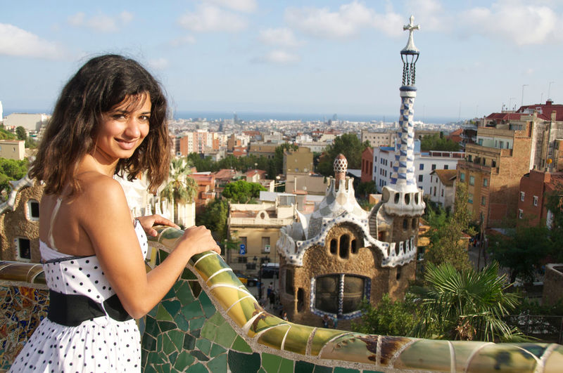 Barcelona Park Guell Portrait Of A Woman SPAIN Tourism Vacation