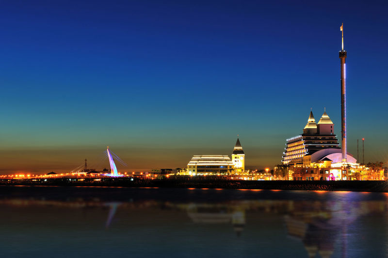 Quiet sea, a beautiful landscape, in the new Taipei is a fresh water area Fisherman's Wharf Romantic Architecture Bridge Building Exterior Built Structure City Clear Sky Freshwater Illuminated New Taipei City Night No People Outdoors Peaceful Sky Travel Destinations Water