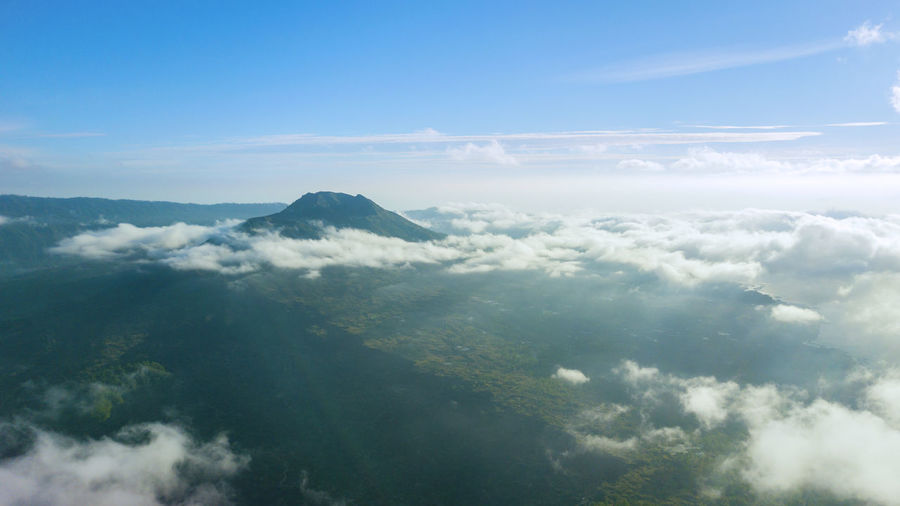 Above Aerial View Beauty In Nature Cloud - Sky Cloudscape Day Environment High Angle View Idyllic Landscape Mountain Nature No People Non-urban Scene Outdoors Physical Geography Scenics - Nature Sky Softness Sunlight Tranquil Scene Tranquility