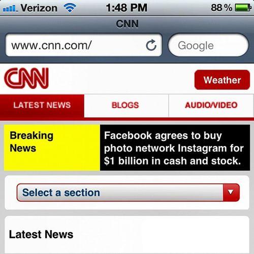 Breaking News we heard today! IG=FB! News Fb Facebook Alert Instagram Breaking Ig Dollars CNN Takeover Billion Breaking_news Buyout Bigtime
