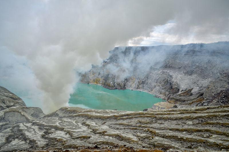 Landscape view of ijen crater, ijen volcano, banyuwangi, east java, indonesia