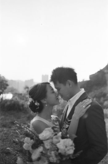 Love Two People Couple - Relationship Togetherness Bonding Real People Young Adult Emotion Positive Emotion Men Heterosexual Couple Young Men Women Young Women Adult Lifestyles Leisure Activity Sky Land Nature Young Couple Outdoors Wedding Wedding Dress Wedding Photography Wedding Ceremony Wedding Day Bride Bridegroom Bride And Groom Blackandwhite Black And White Film Film Photography Filmisnotdead Asian  Asian Girl Asian Boy Eyes Closed