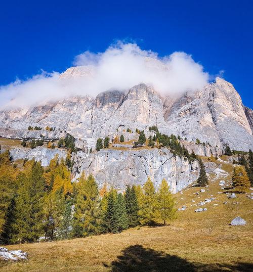 Autumn colours in the Dolomites, Italy Autumn Autumn colors Tree Mountain Sky Landscape Rocky Mountains Mountain Range Rock Formation Geology Natural Landmark Eroded Pine Woodland Pine Tree Mountain Peak