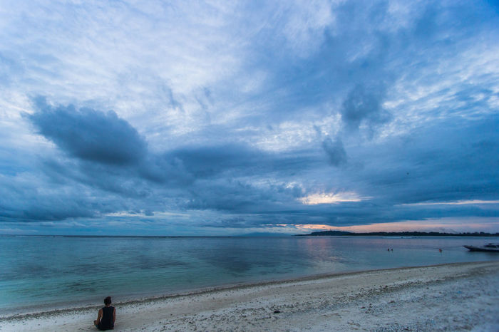 Adult Beach Beauty In Nature Blue Cloud - Sky Day Horizon Over Water Nature One Person Outdoors People Real People Sand Scenics Sea Sky Tranquil Scene Tranquility Vacations Water