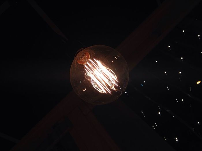 Illuminated Lighting Equipment Electricity  Close-up Ceiling Low Angle View Hanging Electric Light Indoors  Light Bulb Glowing Darkroom Filament Lit No People Nofilter Noedit