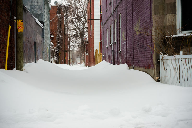 Back alley with snow Alley Alleyway Backalley Building Calm City Cold Cold Temperature Covering House Mauve  Pure Residential District Serenity Snow Snow Scene  Snow Storm Snowscape Urban Weather White Winter