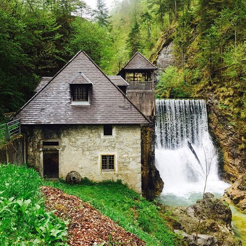 Old Buildings Old Watermill  Waterfall #water #landscape #nature #beautiful Green Color