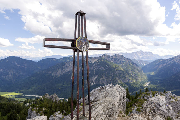 Teufelstaettkopf Beauty In Nature Cloud - Sky Cross Crucifix Day Low Angle View Mountain Nature No People Outdoors Religion Scenics Sculpture Sky Spirituality Statue Summit Cross Tranquil Scene Tranquility