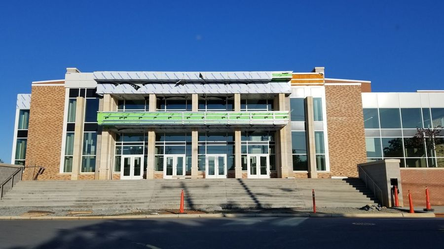 High School Construction Remodel Mhs  Mooresville HS Steps Blue Sky Entrance Education Teen Life School Doors Windows Architecture Clear Sky Architecture Building Exterior