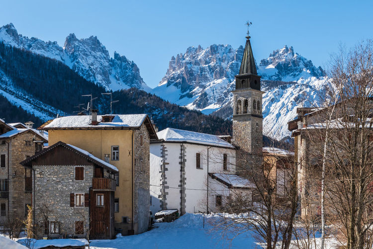Forni di sopra winter. ancient mountain village. pearl of the friulian dolomites