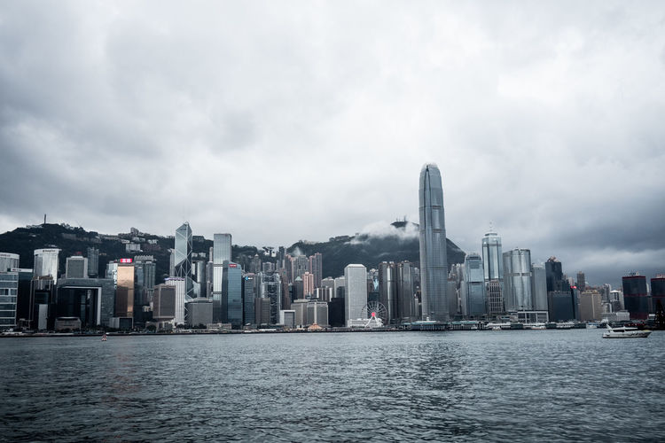 Modern buildings at victoria harbour in city