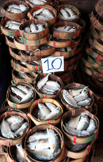 Close-Up Of Fish In Baskets