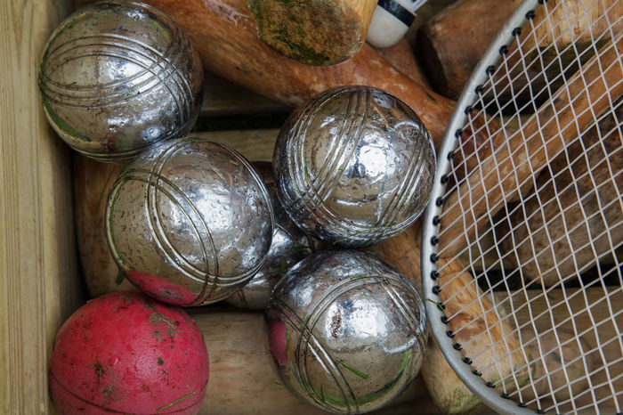 5 Balls, Basketballs, Miniature Boules Box Mesh Raquet Ball Game Croquet Five Silver  Strings Wood - Material