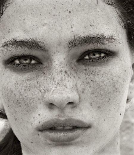 Nichole Martinez/Elite NYC Freckles Natural Beauty Cateyes NewFace Wow😊 Black And White Photography Portrait Of A Woman Closeup Beautiful Light Eyes Fashion Model Elite Model The Portraitist - 2016 EyeEm Awards