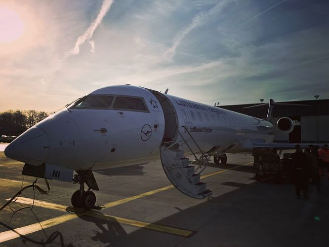 Lufthansa regional jet Lufthansa Airport Nuernberg Airplane Transportation Sky Airport Runway Airport Travel Cloud - Sky Air Vehicle Commercial Airplane