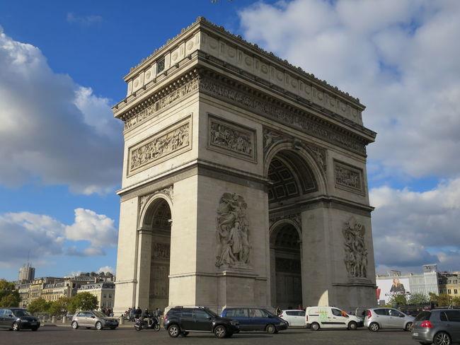 Arc De Triomphe De L'Étoile Architecture City City Life City Street Cloud Cloud - Sky Day Land Vehicle Outdoors Road Sky Transportation Travel Destinations