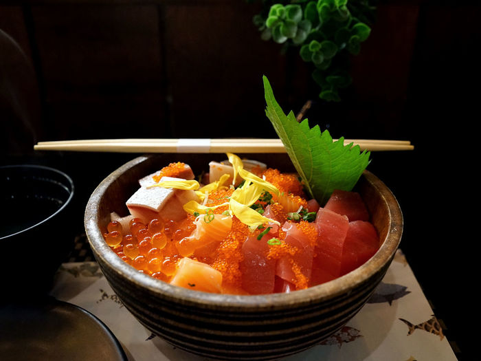 Japanese food fresh fish with rice ASIA Asian Food Beautiful Bowl Classy Close-up Cuisine Dinner Dotonburi Elegant Fish Food Food And Drink Foodphotography Fresh Japanese  Japanese Food Lifestyle No People Raw Raw Food Ready-to-eat Rice Sashimi  Sushi
