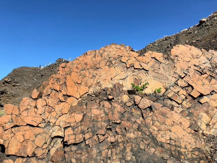 Rock Formations On Mountain Against Clear Blue Sky