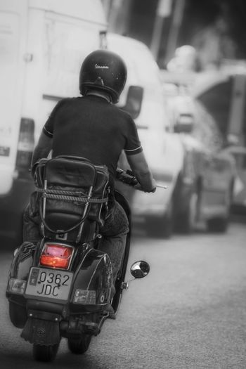 Motorcycle Focus On Foreground Riding One Person Only Men Adult Real People City Black And White Retrolux EueEmNewHere EyeEm Gallery Scooterlife Transportation EyeEm Selects