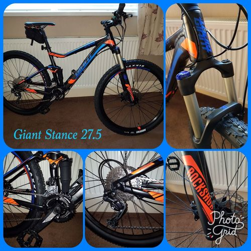 New ride, Giant Stance 27.5 full sus. It's a beautiful thing 😍 Bicycle Transportation Mode Of Transport Mountain Bike Bike MTB MTB Biking Giant Stance Samsungphotography Eye4photography  Collage