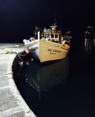 Reflection Boat Night Photography Night Sea Port Ios Greece Greece