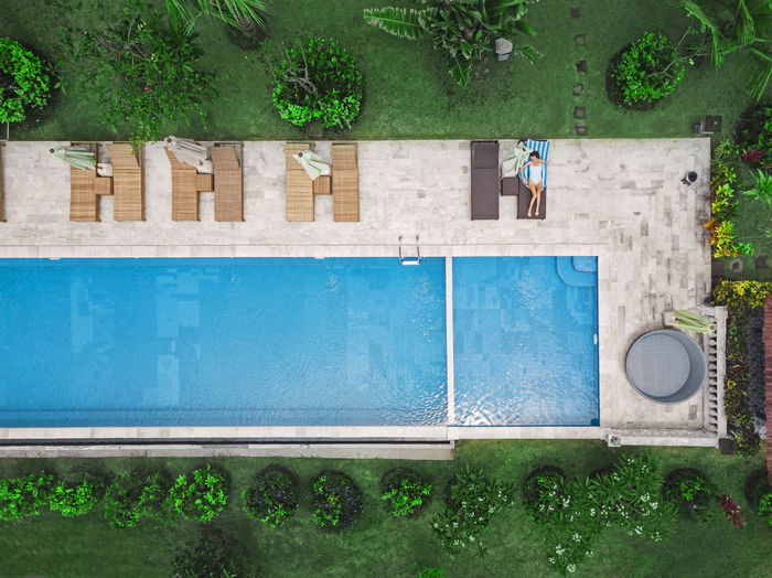 High angle view of swimming pool against wall