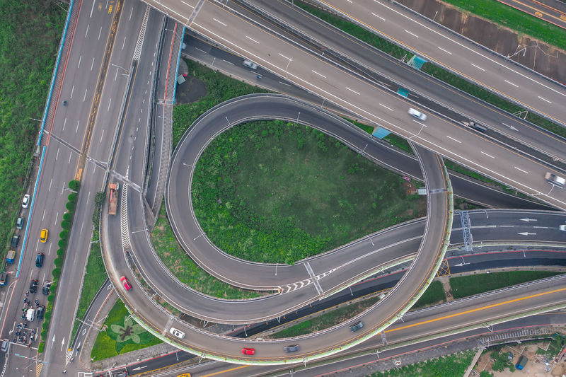 High angle view of highway by street in city