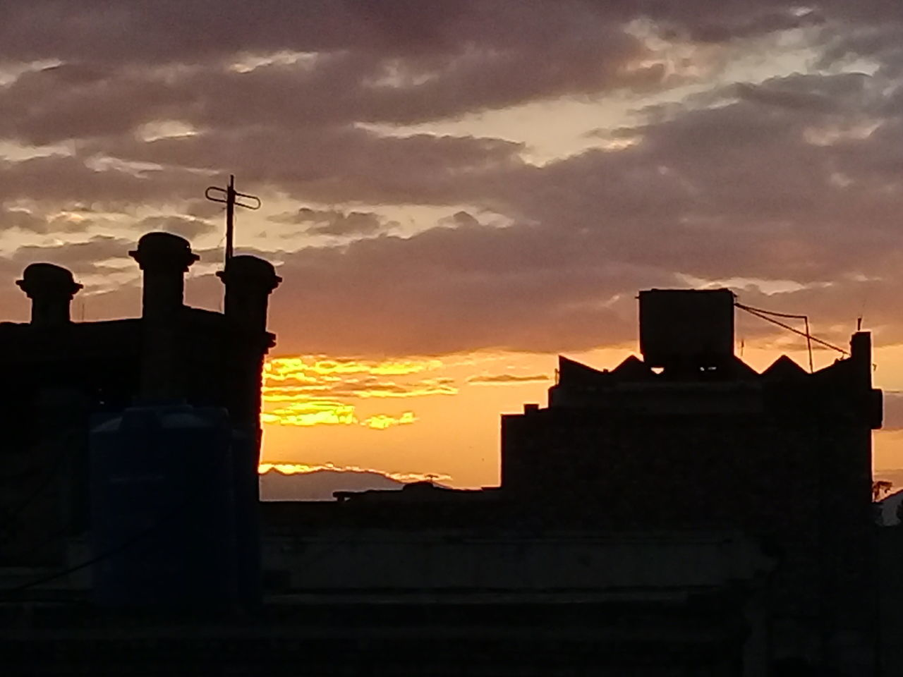 sunset, orange color, architecture, sky, cloud - sky, built structure, building exterior, silhouette, no people, outdoors, nature