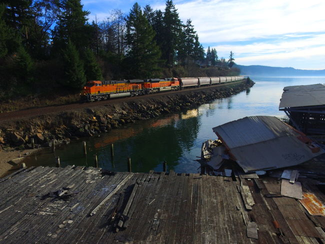 BNSF Train Railroad EyeEmNewHere Water Outdoors Day Tree Occupation Nature Sky