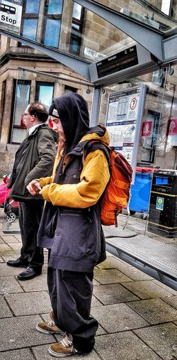 Travel People Real People Men Young Adult Streets Of Glasgow Waiting For The Bus One Person Bus Stop, Candid Photography