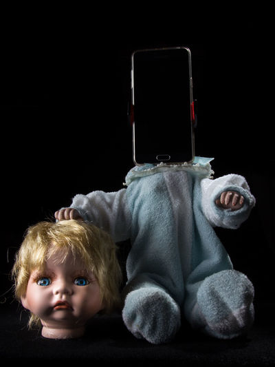 Doll Horror Black Background Close-up Decapitated Disturbing Indoors  Smartphone Studio Shot
