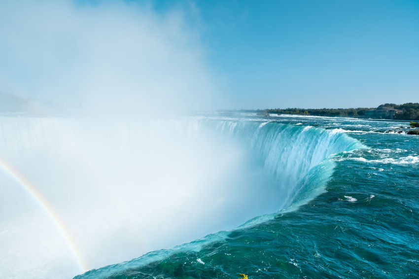 Niagara Falls Beauty In Nature Blue Clear Sky Day Long Exposure Motion Nature No People Outdoors Power In Nature Rainbow Scenics Sky Tranquil Scene Tranquility Travel Destinations Water Waterfall Perspective On Nature