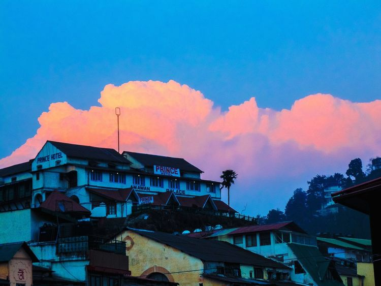 The fire clouds ... Clouds And Sky Fire Orange Sky Odd Blue Sky Clouds Cloudporn Mountains Mussoorie Travel Sunset Uttarakhand North India Tadaa Community TOWNSCAPE Building Exterior Built Structure Hello World Traveling Taking Photos Vacation Hillstation Landscape Golden Hour