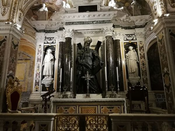 Human Representation Male Likeness Representation Art And Craft Sculpture Statue Architecture Built Structure History Craft Low Angle View The Past Creativity Indoors  Spirituality Religion Place Of Worship Building Carving - Craft Product No People Altar Sant'andrea Bronzo Cripta Duomo Di Amalfi