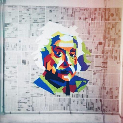 """"""" The true sign of intelligence is not knowledge, but imagination. """" - Albert einstein . . Vscocam Albert Einstein Wallart paper mosiac"""