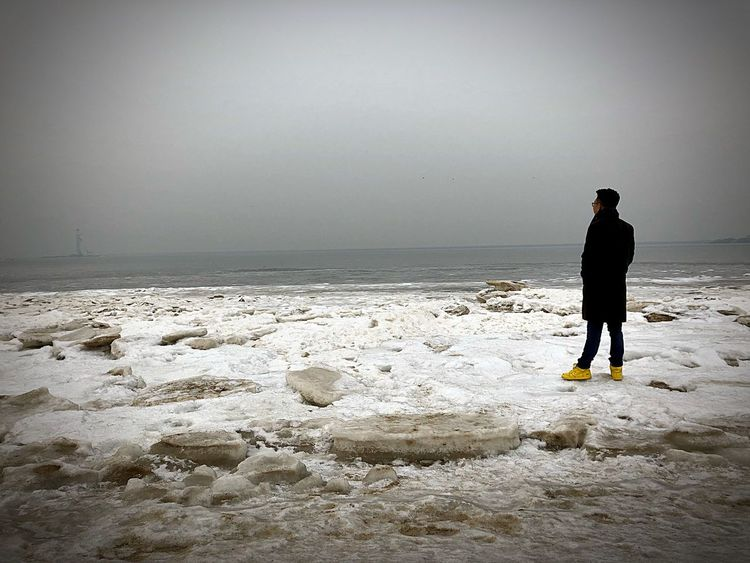 Sea Standing One Person Beach Full Length Water Nature