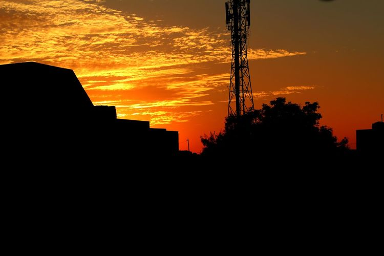 Signal Tower Sunset Orange Color Silhouette Industry Sky No People