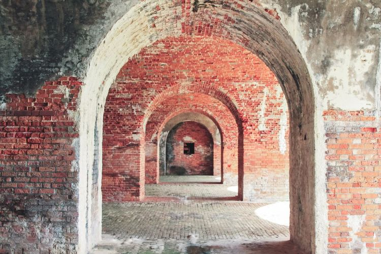 Old fort archway Fort Military Brick Arch History Brick Wall Ancient Architecture Built Structure Day No People Indoors  Red