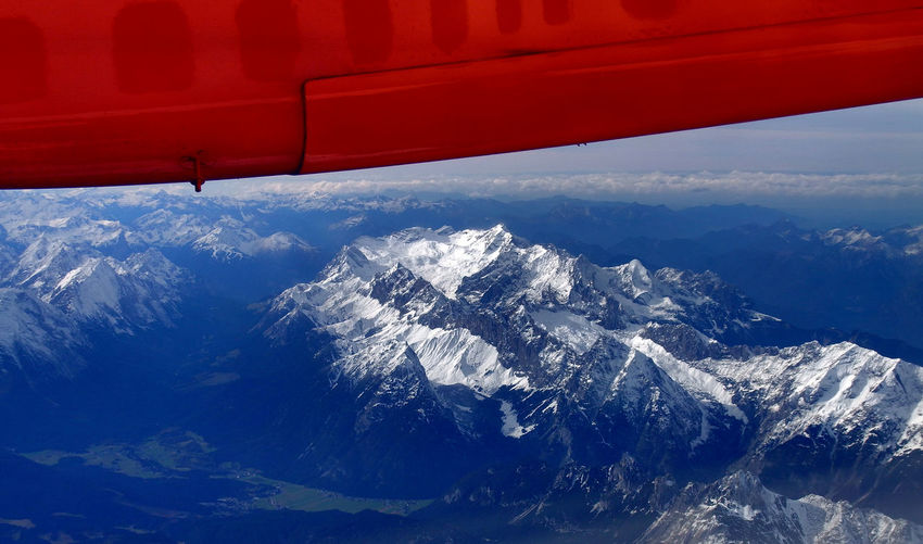 Fly over Karwendel from INN to FRA. You see the highest mountain of germany, the Zugspitze. Aerial View Air Vehicle Airplane Day Flying Mountain No People Outdoors Snow