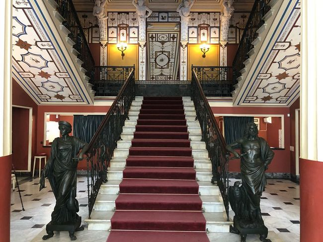Sculpture Greek Mythology Hera Statue Achilleion Sissi Indoors  Architecture Built Structure Illuminated Staircase Building Lighting Equipment Art And Craft Corridor Steps And Staircases