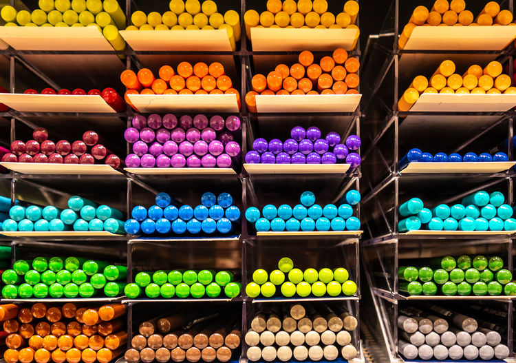 Full frame shot of multi colored pencils for sale in market