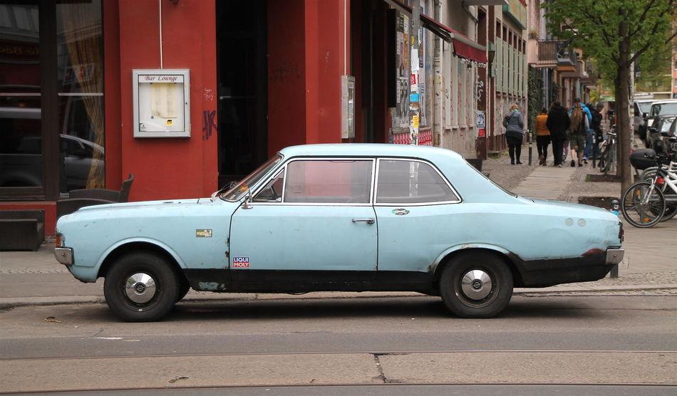 Blue Car City Old Parked Parking Street Transportation