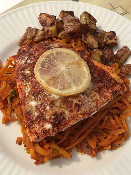Homemade Foods Fish Blackenedfish Squash Spaghettisquash